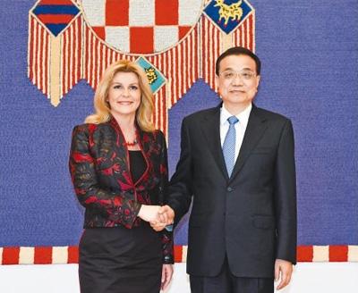 国务院总理李克强分别会见克罗地亚总统和议长